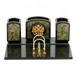 """Настольный набор """"Герб"""" камень змеевик 260х210х105мм"""