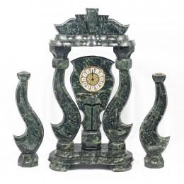 """Декоративные большие часы из змеевика с подсвечниками """"Корона"""", высота 63 см"""