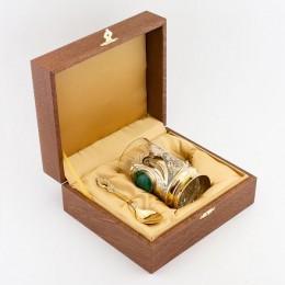 """Чайный набор из малахита """"Бриджида"""" 115х75х12мм"""