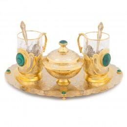 Чайный набор с малахитовой отделкой 320х250х140мм
