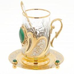 """Чайный набор """"Малахитовый"""" 130х130х140мм"""