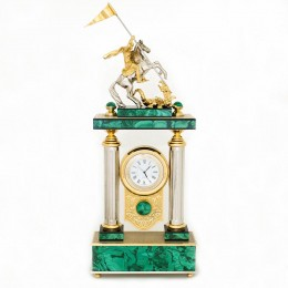 "Часы ""Георгий Победоносец"" малахит 170х65х370мм"