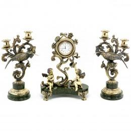 """Каминные часы """"Колибри"""" с канделябрами камень змеевик"""