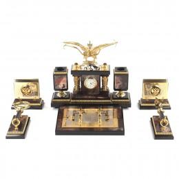 """Настольный набор руководителя из камня и бронзы с часами """"Двуглавый орел"""""""