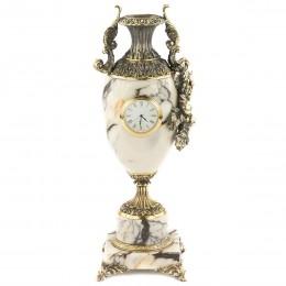 "Ваза с часами ""Виноград"" мрамор змеевик бронза 135х120х360мм"