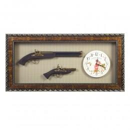 "Панно ""Оружие"" с часами, L115 W8 H39 см"