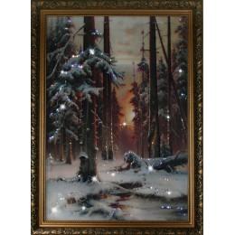 """Картина Сваровски """"Зимний закат в еловом лесу"""""""