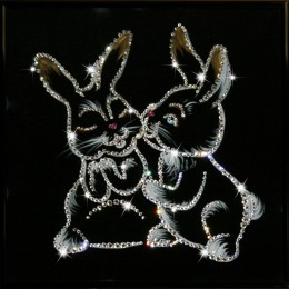 """Картина с кристалами Сваровски """"Крольчата"""""""