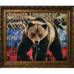 """Картина с кристалами Swarovski """"Медведь-Символ России"""""""