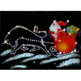 "Картина Swarovski ""Бык 2021 и Дед Мороз в пути"""