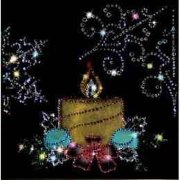 """Картина с кристалами Swarovski """"Новогодняя свеча"""""""