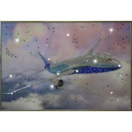 """Картина с кристалами Swarovski """"Самолет"""""""