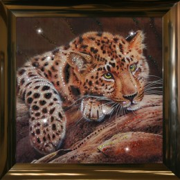 """Картина Swarovski """"Леопард """""""