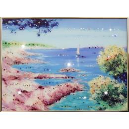 """Картина с кристалами Swarovski """"Морской пейзаж"""""""