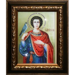 """Икона с кристалами Swarovski """" Святой Трифон"""""""