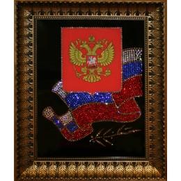 """Картина Сваровски """"Флаг и Герб РФ"""""""