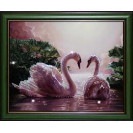"""Картина с кристалами Swarovski """"Влюбленные лебеди"""""""