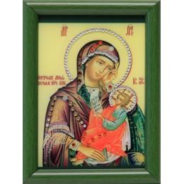 """Икона с кристалами Swarovski """" Божией Матери Утоли мои печали малая"""""""