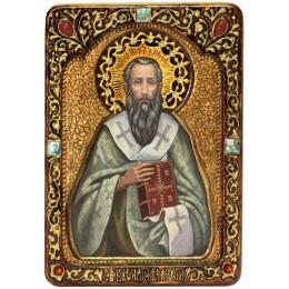 """Живописная икона """"Святитель Василий Великий"""" на кипарисе"""