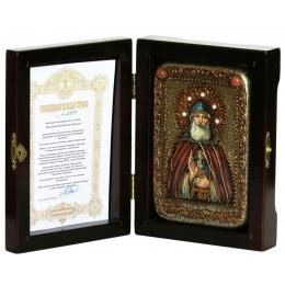 """Настольная икона """"Преподобный Илия Муромец, Печерский"""" на мореном дубе"""