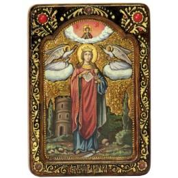 """Живописная икона """"Святая великомученица Варвара Илиопольская"""" на кипарисе"""
