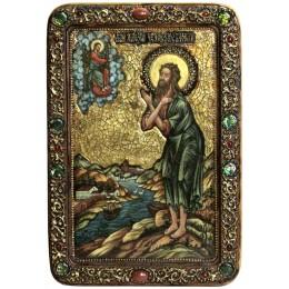 """Живописная икона """"Преподобный Алексий, человек Божий"""" на кипарисе"""