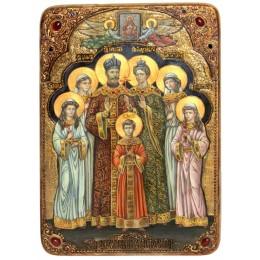 """Живописная икона """"Святые царственные страстотерпцы"""" на кипарисе"""
