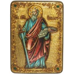 """Подарочная икона """"Первоверховный апостол Павел"""" на мореном дубе"""