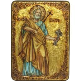 """Подарочная икона """"Первоверховный апостол Петр"""" на мореном дубе"""