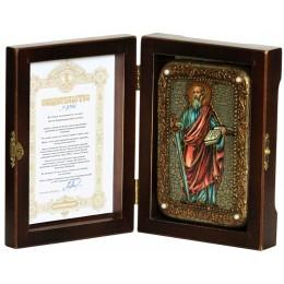 """Настольная икона """"Первоверховный апостол Павел"""" на мореном дубе"""