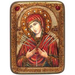 """Икона подарочная """"Образ Божией Матери """"Умягчение злых сердец"""" на мореном дубе"""
