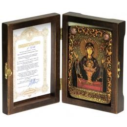 """Настольная икона Божией матери """"Неупиваемая чаша"""" на мореном дубе"""