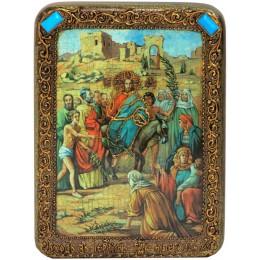 """Подарочная икона """"Вход Господень В Иерусалим"""" на мореном дубе"""