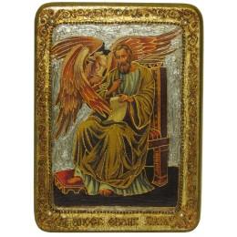"""Подарочная икона """"Святой апостол и евангелист Лука"""" на мореном дубе"""