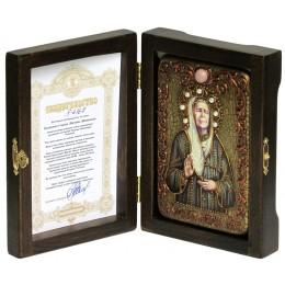 """Настольная икона """"Блаженная старица Матрона Московская"""" на мореном дубе"""