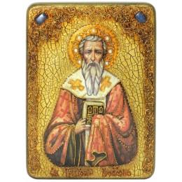 """Подарочная икона """"Святитель Григорий Богослов"""" на мореном дубе"""