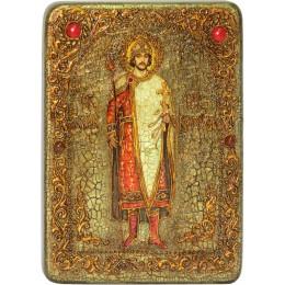 """Подарочная икона """"Святой благоверный князь Борис"""" на мореном дубе"""