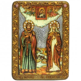 Икона подарочная Петр и Февронья аналойного размера