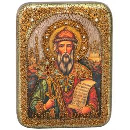 """Подарочная икона """"Святой равноапостольный князь Владимир"""" на мореном дубе"""