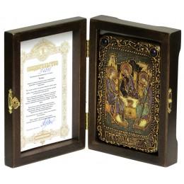 """Настольная икона """"Троица"""" подарочная на мореном дубе"""