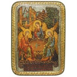 """Подарочная икона """"Троица"""" на мореном дубе, аналойного размера"""