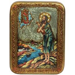 """Подарочная икона """"Преподобный Алексий, человек Божий"""" на мореном дубе"""