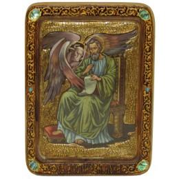 """Живописная икона """"Святой апостол и евангелист Лука"""" на кипарисе"""