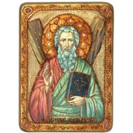 """Икона подарочная """"Святой апостол Андрей Первозванный"""" на мореном дубе"""