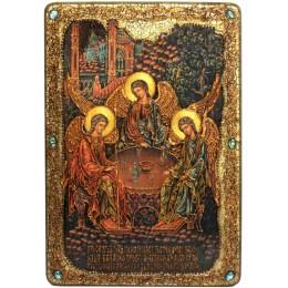 """Большая подарочная икона """"Троица"""" на мореном дубе"""