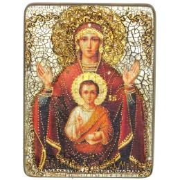 """Подарочная икона Божией матери """"Знамение"""" на мореном дубе"""