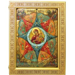 """Живописная икона Божией матери """"Неопалимая купина"""" на кипарисе в березовом киоте"""