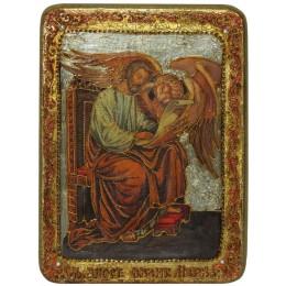 """Подарочная икона """"Святой апостол и евангелист Марк"""" на мореном дубе"""