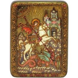 """Подарочная икона """"Чудо святого Георгия о змие"""" полу-аналойного размера"""