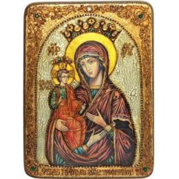 """Подарочная икона """"Образ Божией Матери """"Троеручица"""" на мореном дубе"""